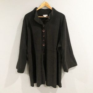 Soft Surroundings | Black Button Up Sweater